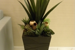 Mixed artificial succulent arrangement with large Agave plant