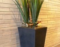 Three artificial Agave plants with dried botanicals