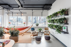 Tropical plants enhance a collaboration area in a Toronto office
