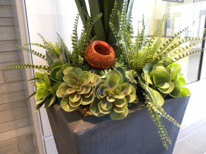 Artificial succulent arrangement in a Toronto office